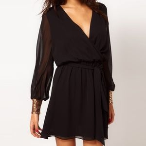 ASOS LBD Wrap Mini Dress with Gold Sequin Cuffs